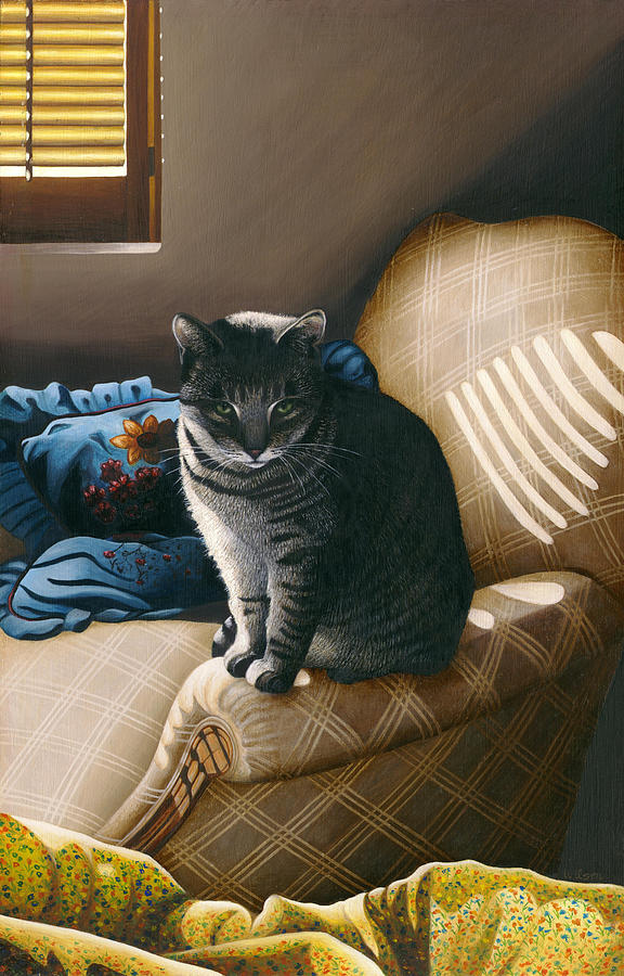 Gray Tabby Cat Painting - Cat In Shadows by Carol Wilson