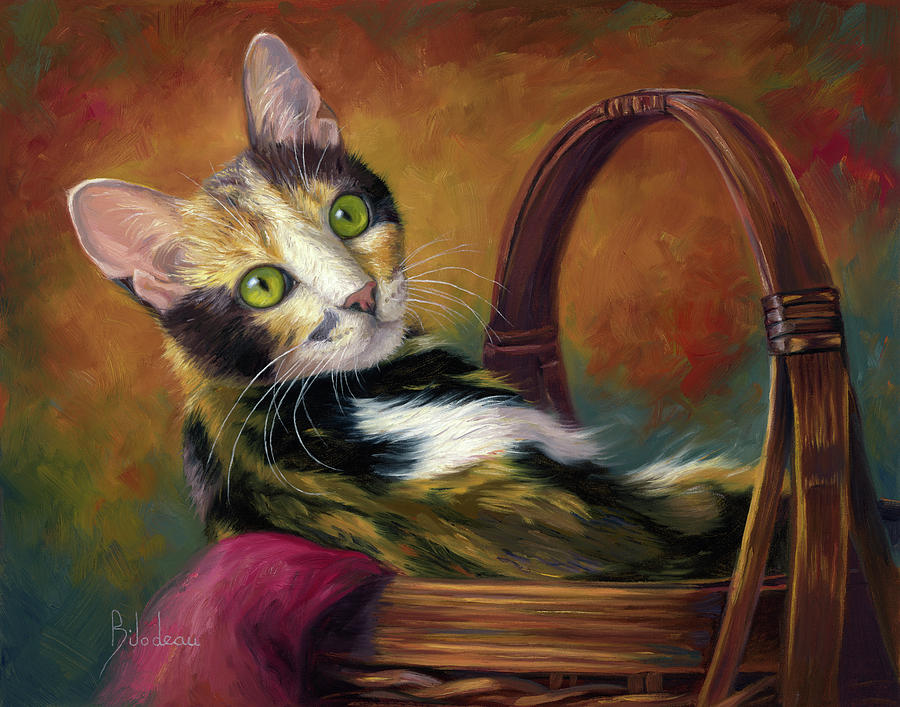 Cat in the Basket by Lucie Bilodeau