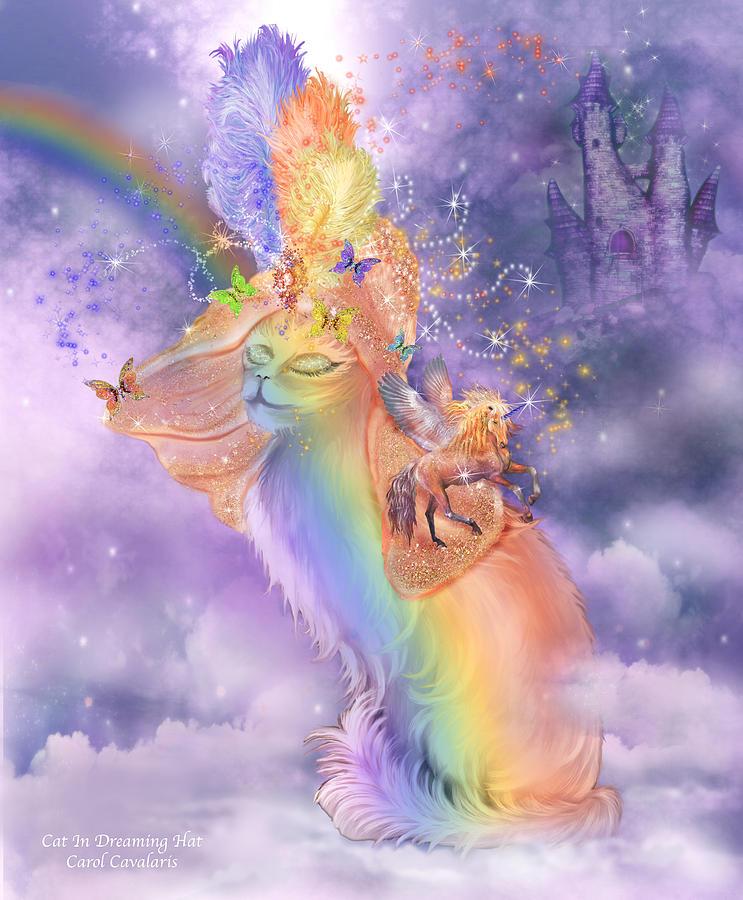 Cat Mixed Media - Cat In The Dreaming Hat by Carol Cavalaris