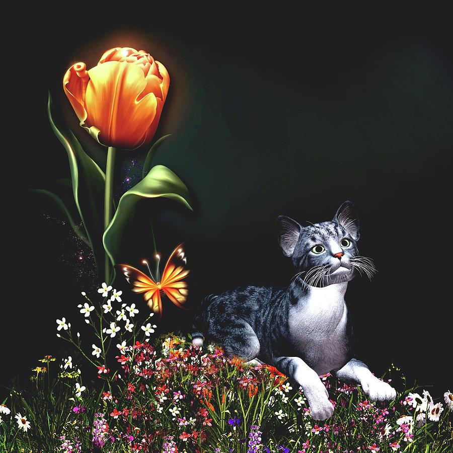 Cat in the garden by John Junek
