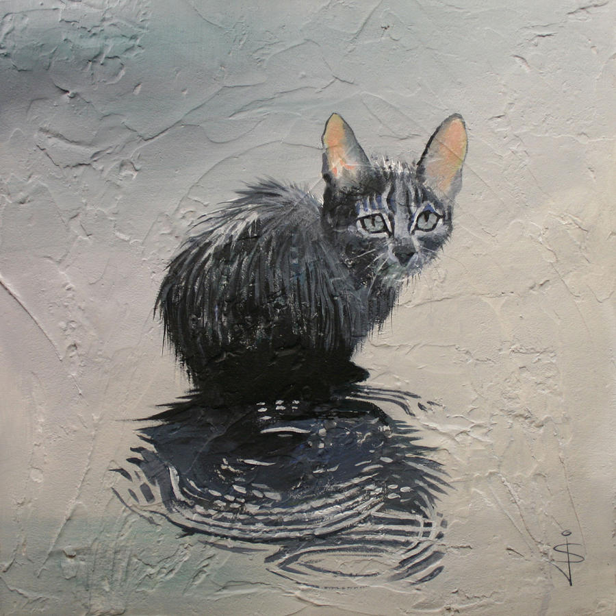 Acrylic Painting - Cat In The Rain by Jan Szymczuk