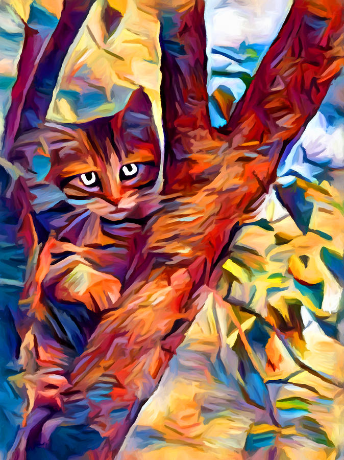 Cat In Tree Painting - Cat In Tree by Chris Butler