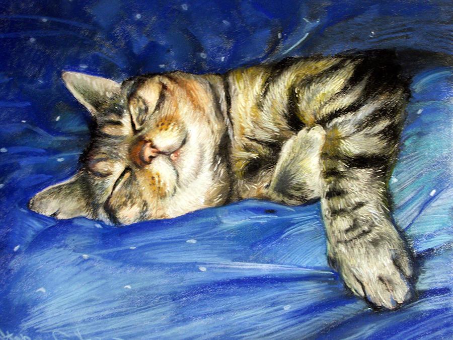 cat Painting by Jelena Stepanova-Abate