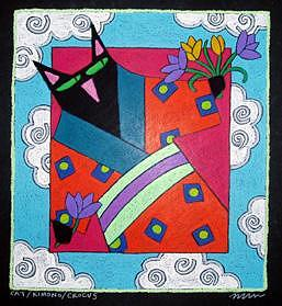 Cat Kimono Crocus Painting by Nancy  Coffelt