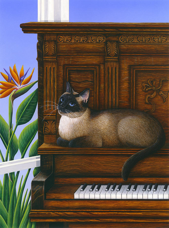 Siamese Cat Painting - Cat Missy On Piano by Carol Wilson