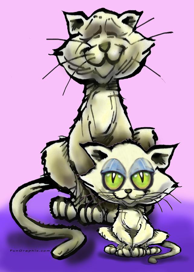 Cat Digital Art - Cat N Kitten by Kevin Middleton