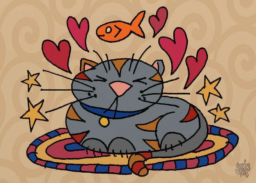 Kitty Mixed Media - Cat Nap by Jennifer Heath Henry