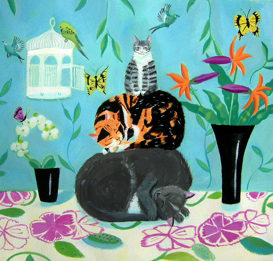 cat nap painting by mary stubberfield. Black Bedroom Furniture Sets. Home Design Ideas