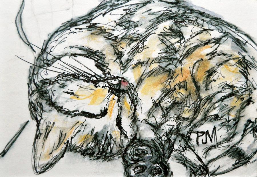 Cat Painting - Cat Nap by Pete Maier