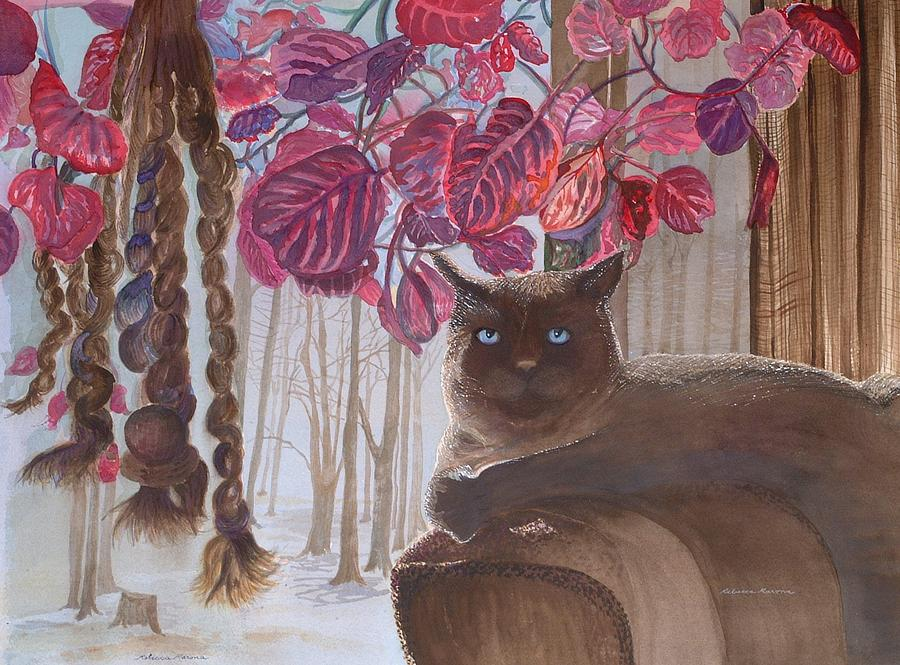 Cat Painting - Cat On A Foggy Day by Rebecca Marona