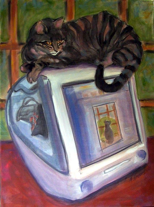 Cat Painting - Cat On Hot Imac by Albie Davis