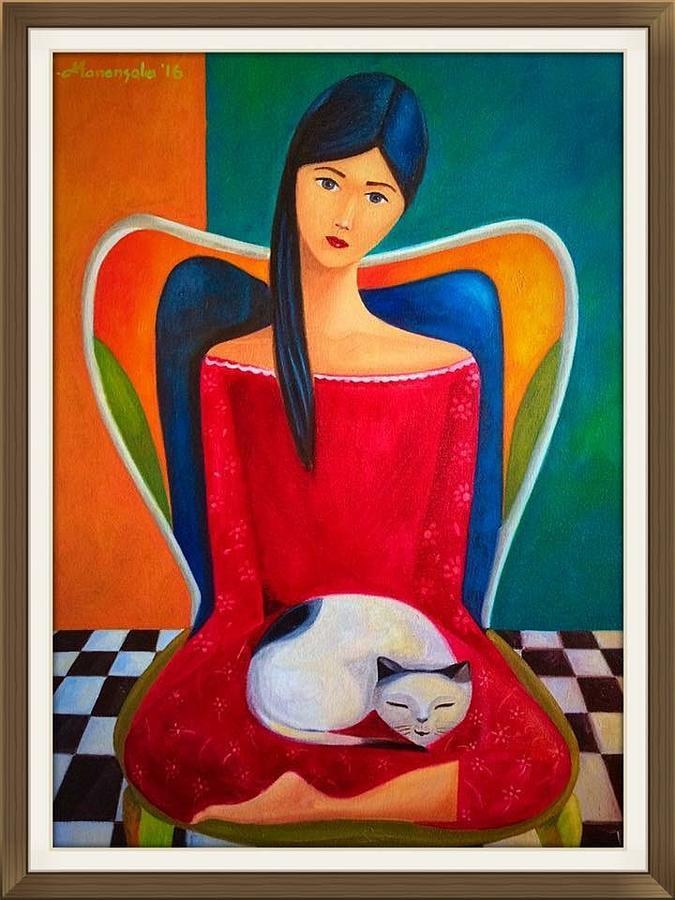 Cat On My Lap Painting by Khristina Manansala