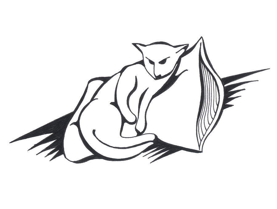 Pen And Ink Drawing - Cat On Pillow by Keith A Link