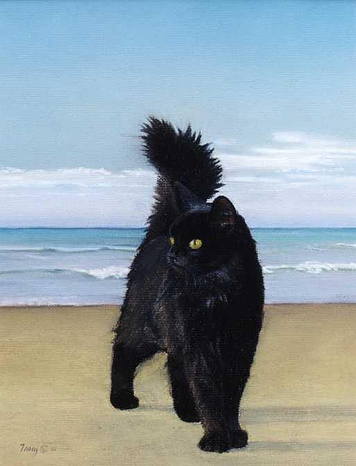 Cat On The Beach Painting - Cat On The Beach by Robert Tracy