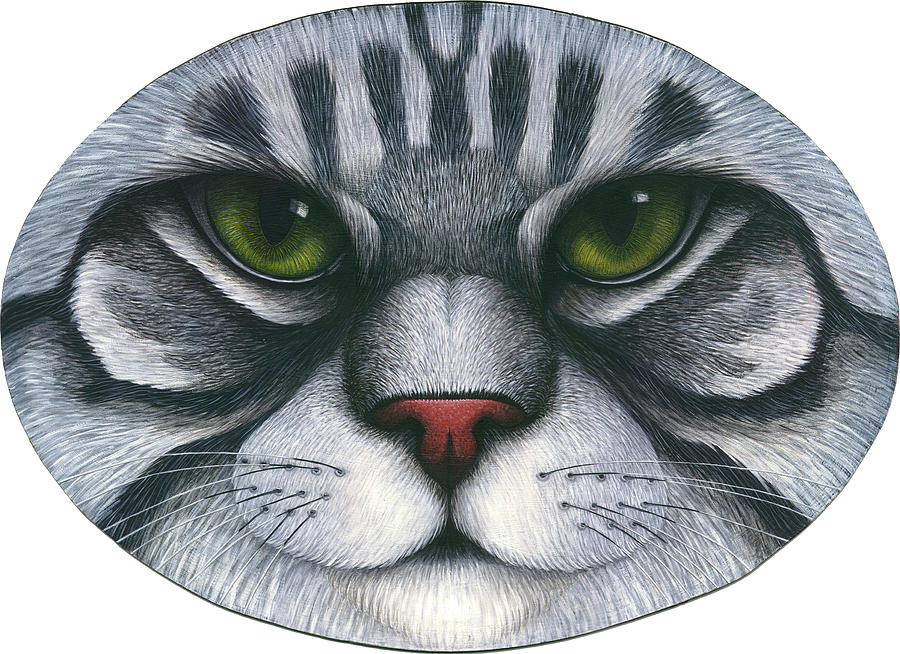 Gray Tabby Cat Painting - Cat Oval Face by Carol Wilson