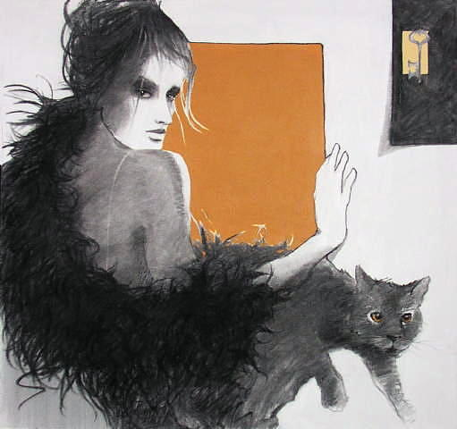 Black Cat Painting - Cat Paws   -    Sold by Sonja Donnelly