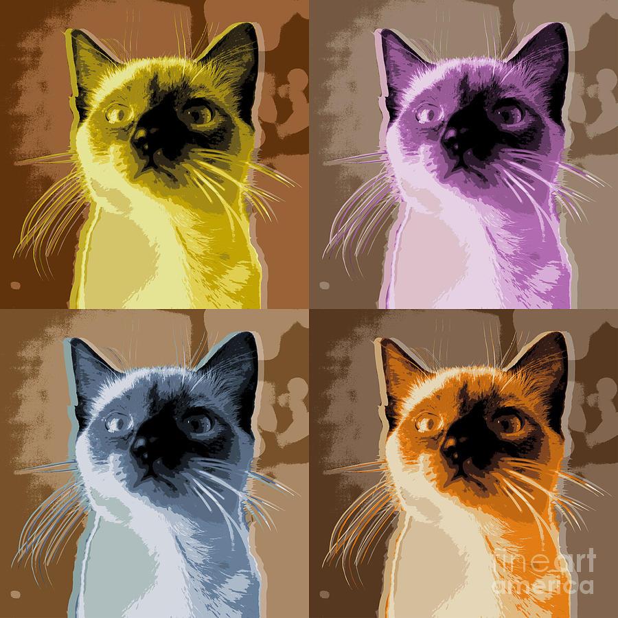 cat pop art digital art by jean luc comperat