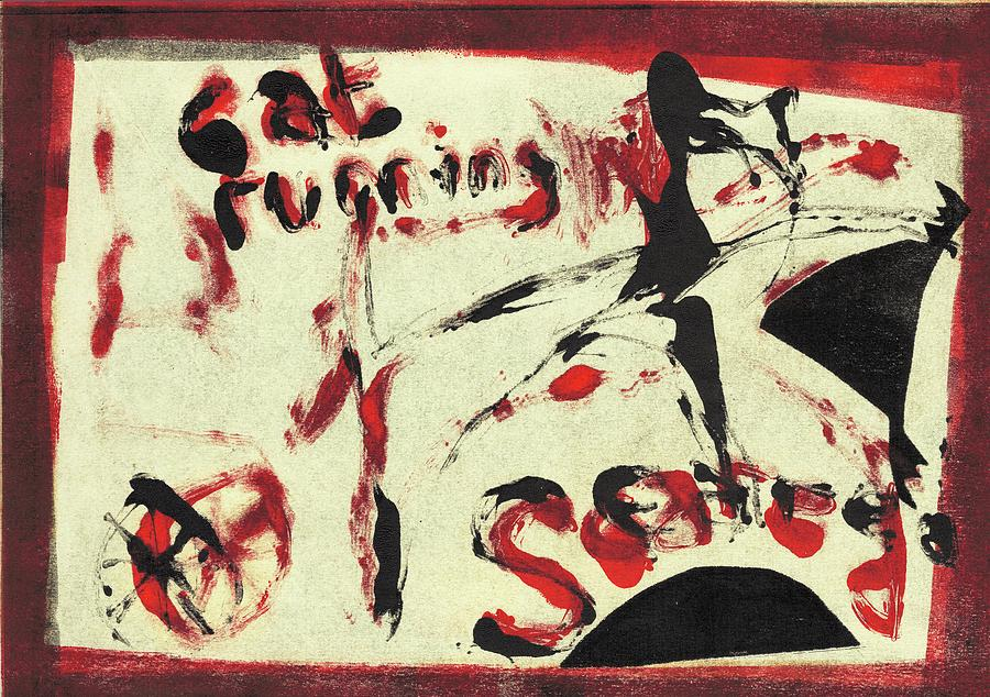 Cat Drawing - Cat Running Scared 5 by Artist Dot