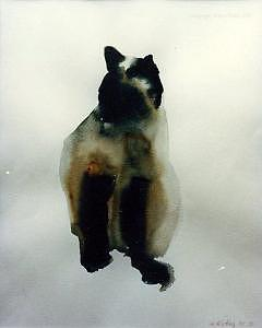 Siamese Cat Painting - Cat Series 1 by Helen Hickey
