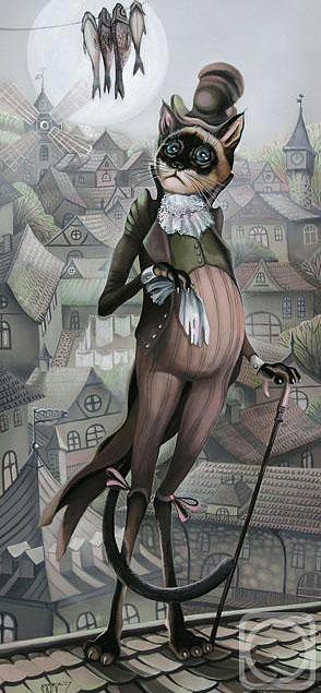 Impressionism Painting - cat by Sokolova Nadezhda
