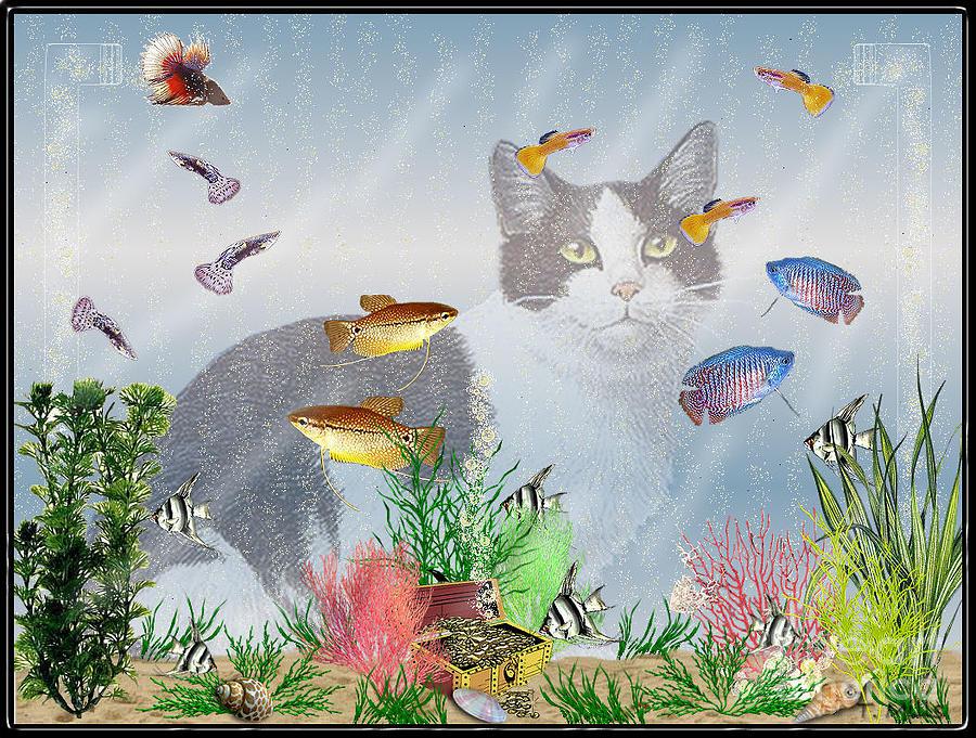 Fish Digital Art - Cat Watching Fishtank by Terri Mills
