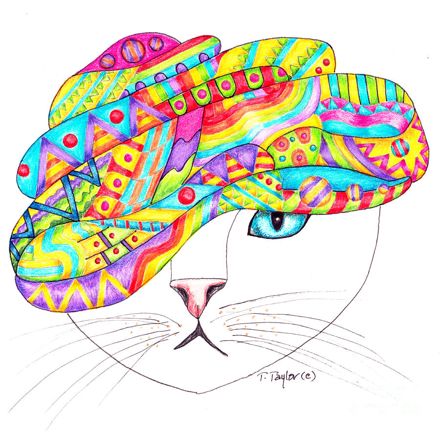 Cat with a Fancy Turban by Terry Taylor