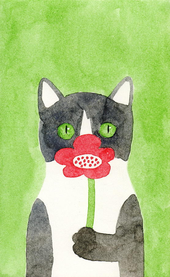 Cat with a Red Flower by Kazumi Whitemoon