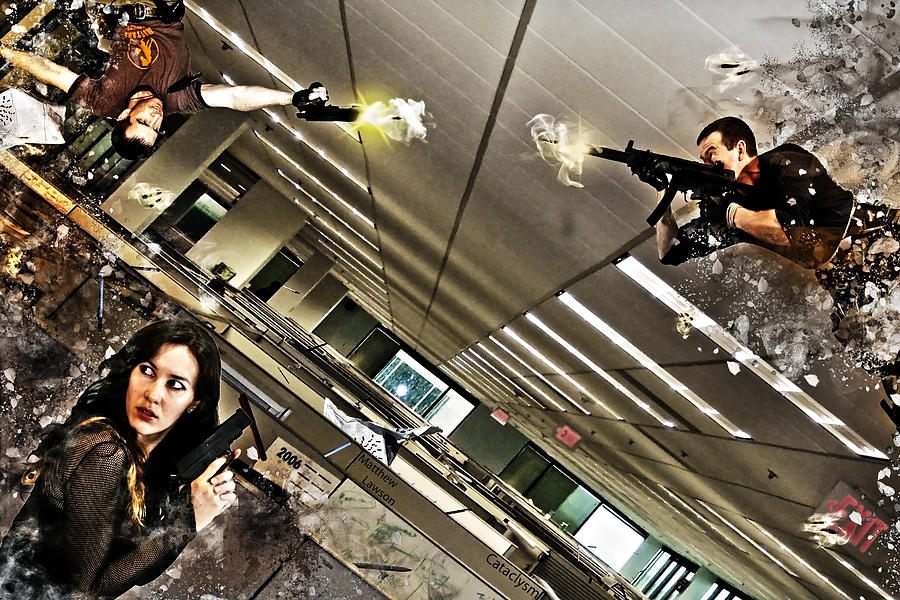 Inception Zero Gravity Cataclysm Explosion Guns Gun Women Man Men Woman Spys Spy Office Building Cubicle Rubble Debris Hang Stunt Position Hdr Tone Digital Art - Cataclysm by Matthew Lawson