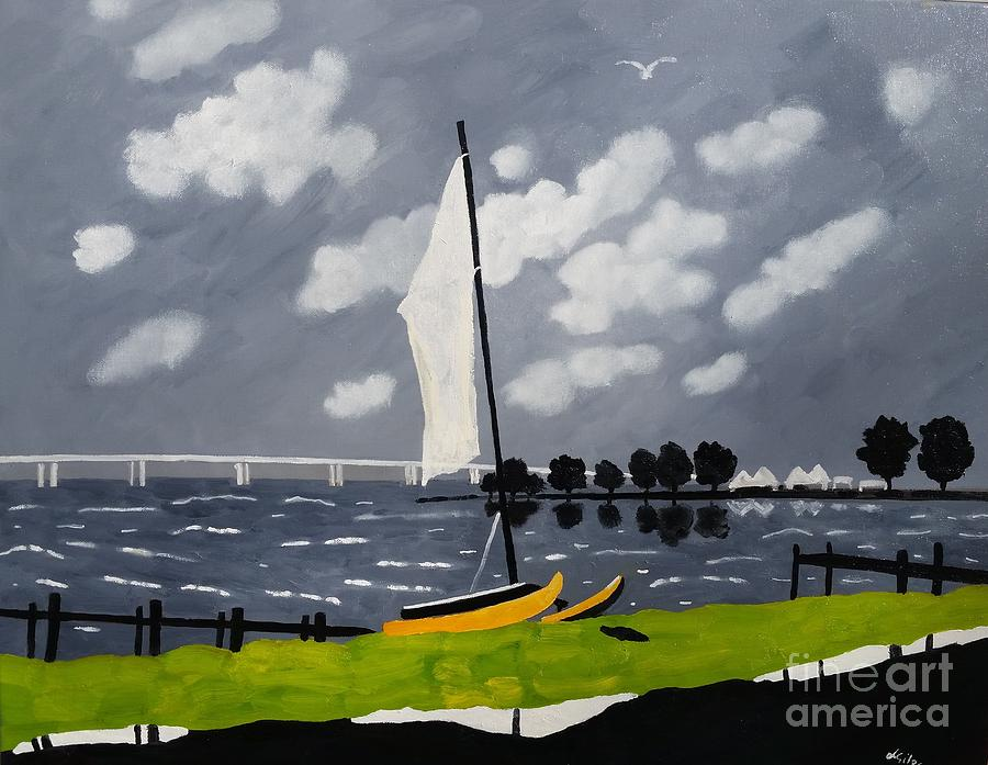 Landscape Painting - Catamaran Cambridge, Md. by Lesley Giles
