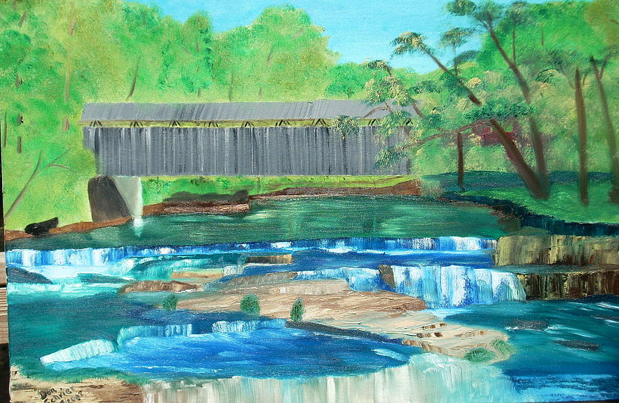Landscape Painting - Cataract Falls Bridge by Donald Schrier
