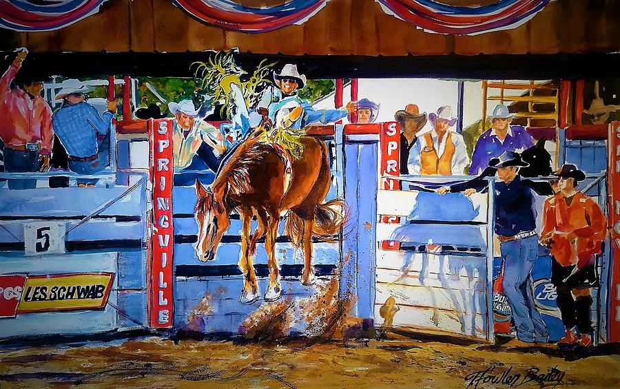 Bucking Bronco Painting - Catching Air At Springville Rodeo by Therese Fowler-Bailey