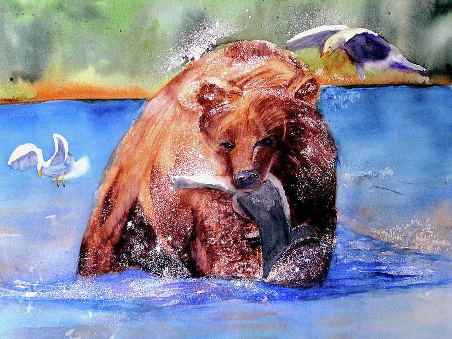 Kodiak Bear Painting - Catching Dinner by Lynne Atwood