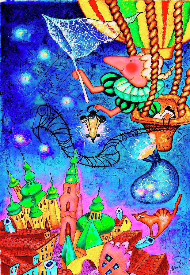 Stars Painting - Catching Stars by Inga Konstantinidou