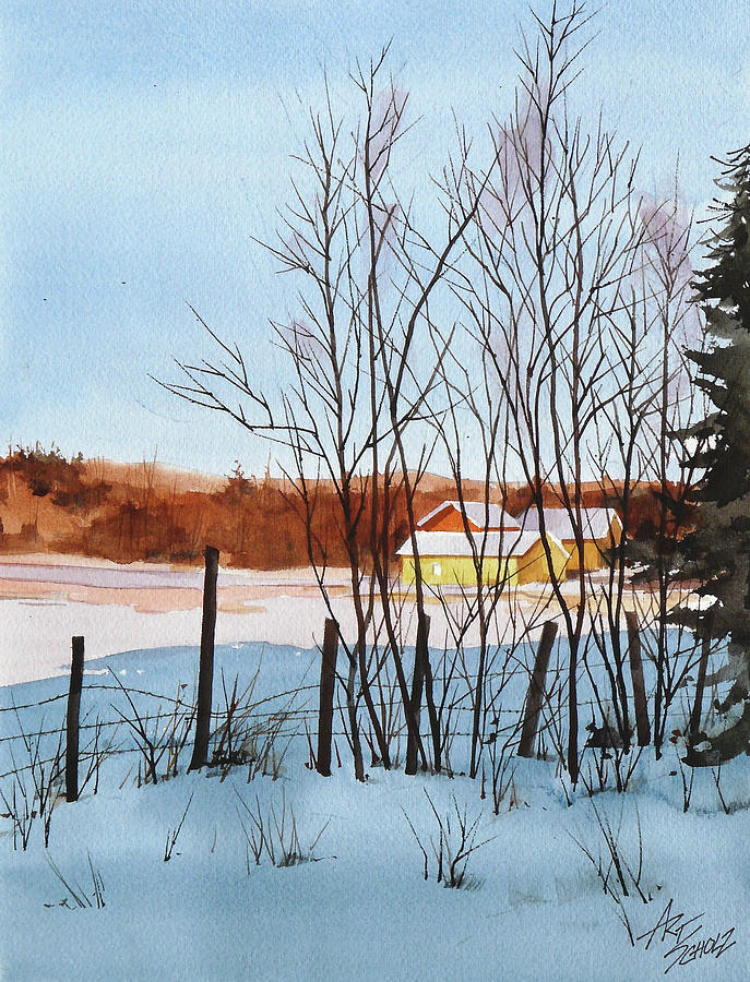 Winter Landscape Painting - Catching The Light by Art Scholz