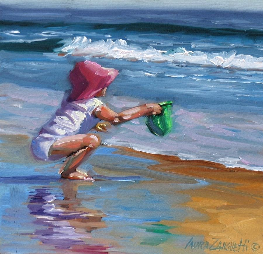 Seascape Painting - Catching The Wave by Laura Lee Zanghetti