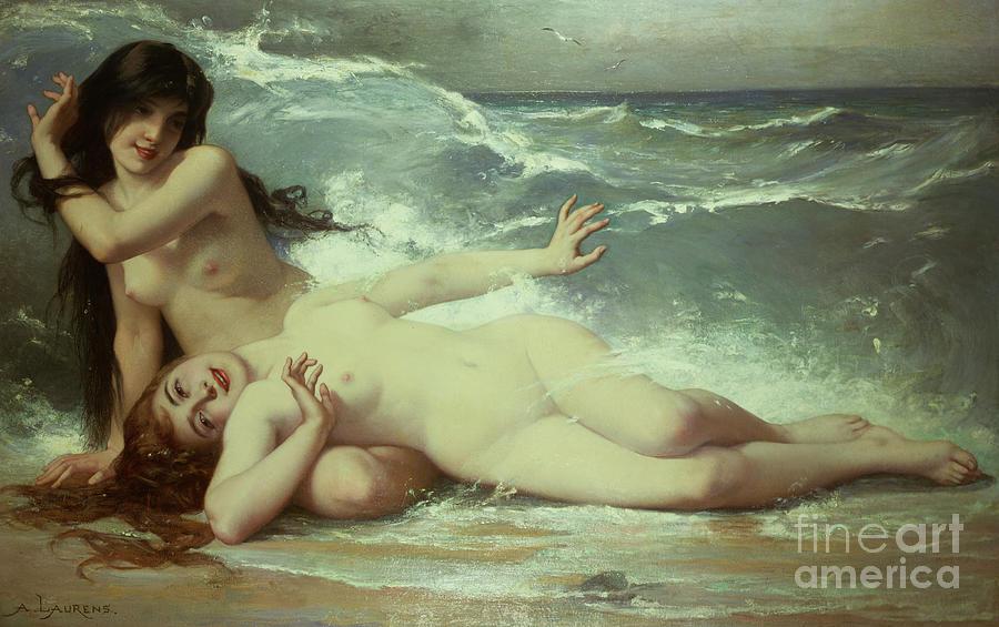 Nude Painting - Catching Waves  by Paul Albert Laurens