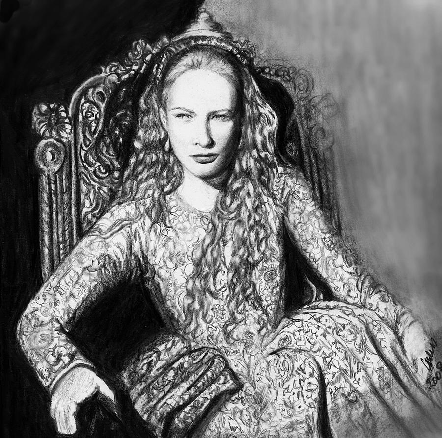Royalty Drawing - Cate Blanchett As Queen Elizabeth The I Number Two by Carliss Mora