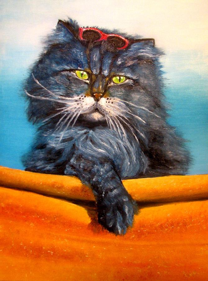Cat Painting - Cat.go To Swim.original Oil Painting by Natalja Picugina