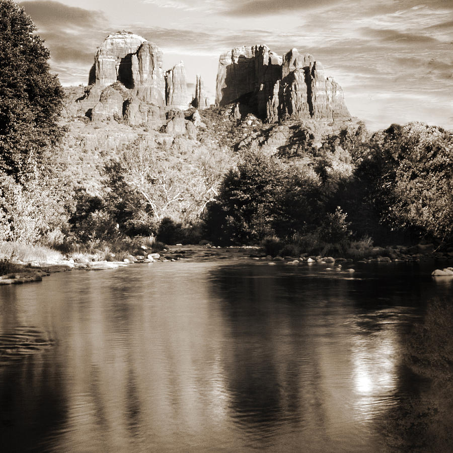 Red Rocks Photograph - Cathedral Rock Reflection by Bob Coates