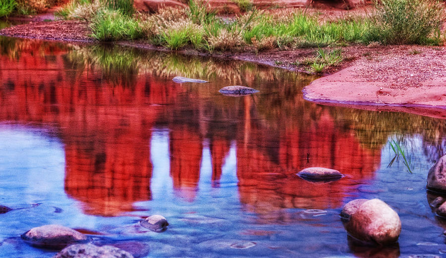 Cathedral Rock Photograph - Cathedral Rock Reflection Painterly by Bob Coates