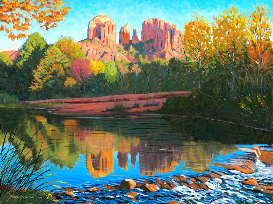 Oak Creek Painting - Cathedral Rock - Sedona by Steve Simon