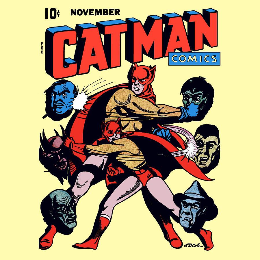 Catman Digital Art - Catman And Kitten Square Format by Joy McKenzie