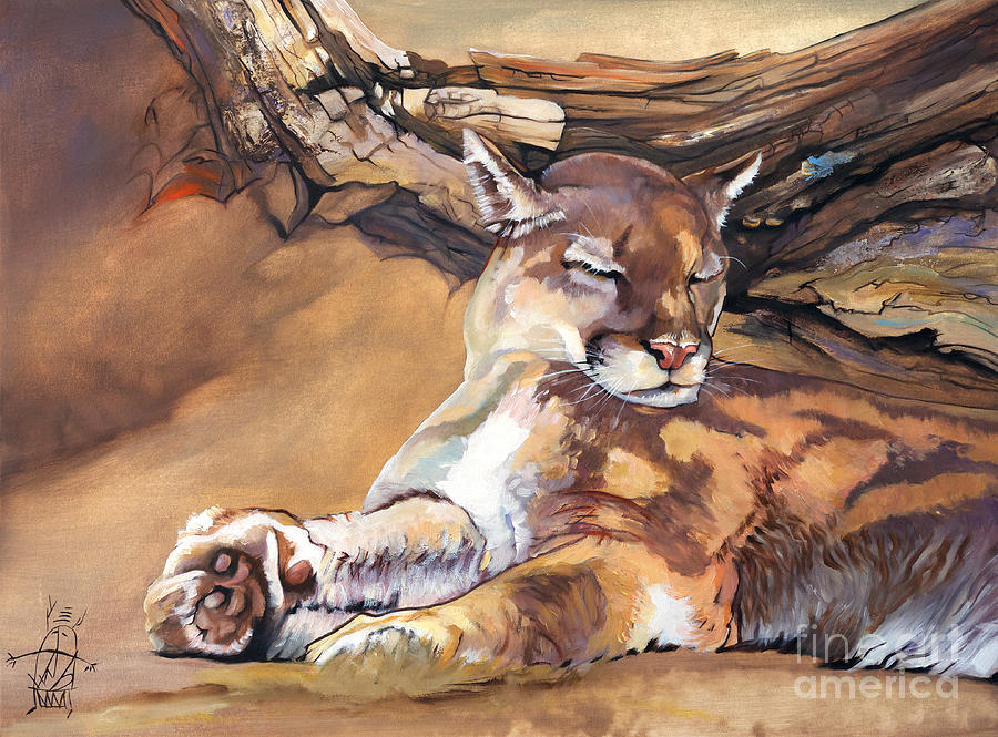 Cougar Painting - Catnap by J W Baker