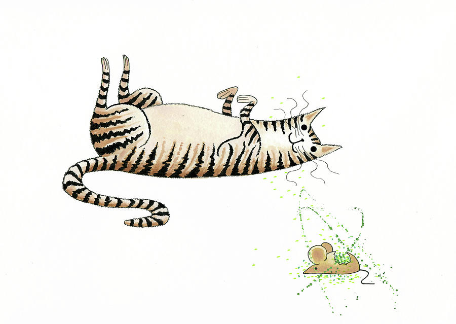 Cat Drawing - Catnipped  by Andrew Hitchen