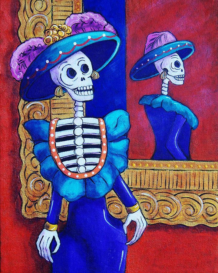 Dia De Los Muertos Painting - Catrina In The Mirror by Candy Mayer