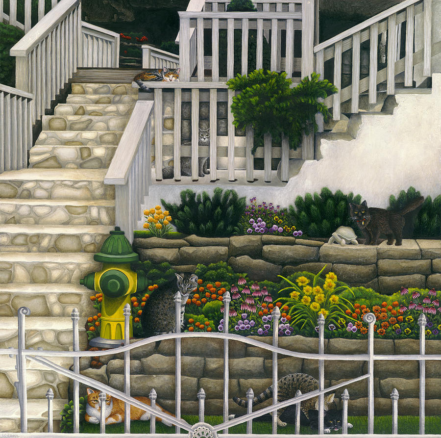 Tabby Painting - Cats Among Stairs And Garden  by Carol Wilson