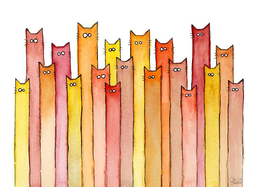 Watercolor Painting - Cats Autumn Colors by Olga Shvartsur