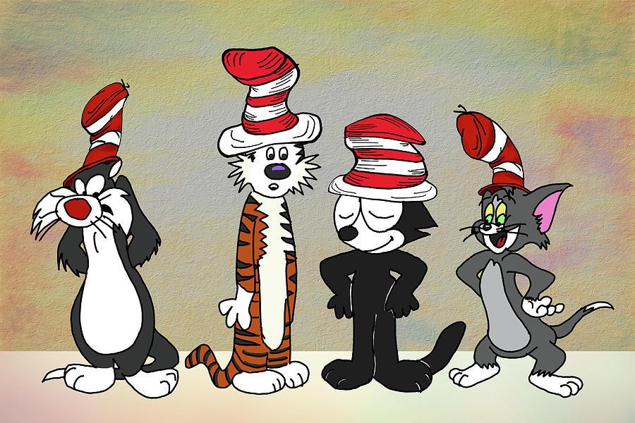 Cat Digital Art - Cats In Hats Too by John Haldane