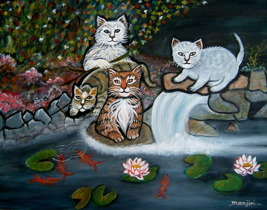 Koi Painting - Cats In The Wild by Manjiri Kanvinde