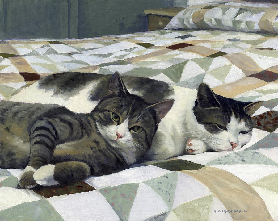 Cat Painting - Cats on the Quilt by Alecia Underhill